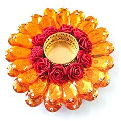 Exquisite Festive Decor Crystal Floating Diya (tealight candle holder), Amber Color, Large size