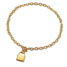 Woman's Necklace. 14k Gold Locket Lock Pendant Chain Necklace | 1 ØAK – 1 Øak Padlock Necklace, Rock Necklace, Gold Bar Necklace, Cute Necklace, Pendant Necklace, Gold Necklaces, Dainty Necklace, Gold Chain Choker, Chain Chokers