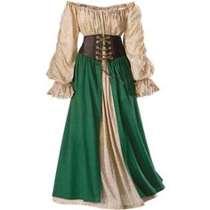 Tavern Wench Ensemble Size 1X ($140) ❤ liked on Polyvore featuring dresses, medieval, costumes, gowns, plus size, plus size chemise and long chemise