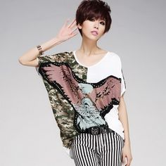 The new 2014 big yards short casual and comfortable T-shirt loose off the bat sleeve blouse female personality