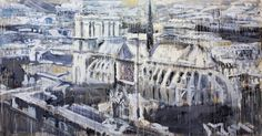 Paris, Notre Dame  2008  Acrylic on canvas  200 x 400 cmValery Koshlyakov's large-scale cardboard paintings, collages and installations – sometimes hanging from the ceiling, sometimes made out of sticky tape