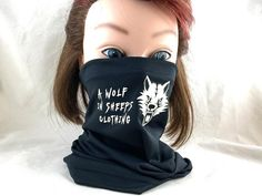 Gaiter wolf mask wolf in sheeps clothing black mask face | Etsy Wolf Mask, Wolf Design, Black Mask, Neckerchiefs, Screen Printing, Wolves, Face, Clothing, Etsy Shop