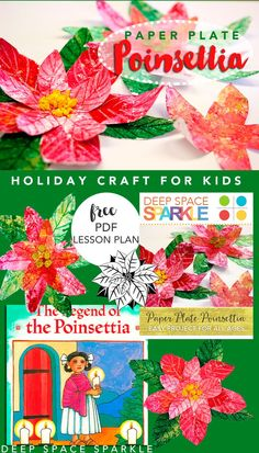 Paper Plate Poinsettia: easy Holiday Craft for Kids
