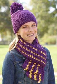 Crochet                                            School Colors Hat and Scarf                                            Set