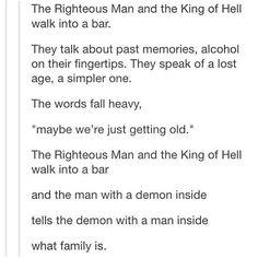 The man with a demon inside and the demon with a man inside. Instagram Search Engine, Nos4a2, Even When It Hurts, Supernatural Cast, O Love, Super Natural, Crowley, Destiel, Dean Winchester
