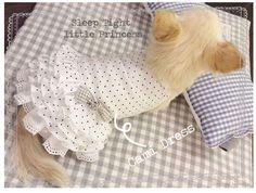 Robe Cami Dress White Dot Louisdog - www;sweetiedog.com #chihuahua #dogdress #dogclothes #louisdog #dog #chien #gorgeous
