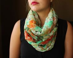 Green & Orange Infinity Scarf with a Water-color Flower Pattern, Circle scarf, Women's infinity scarf, Eternity scarf, Loop scarf on Etsy, $31.68 CAD