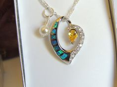 Opal Necklace Topaz Necklace Gemstone Necklace by AlwaysCrafty77, $30.00