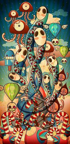 Diseño de personajes e ilustración de CARAMELAW.