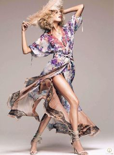 "Anja Rubik featured in the Harper's Bazaar USA editorial ""Hits From The Collections"" from January 2010 , showing Etro"
