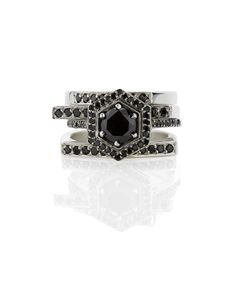 A stack of four black diamond rings from our RITUAL collection, coming out in February 2014. www.meadowlarkjewellery.com