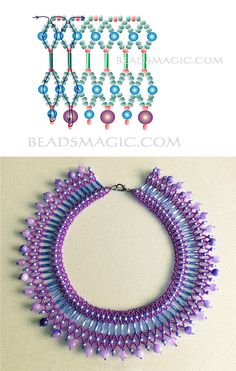 Free pattern for beautiful beaded necklace Candy Beaded Necklace Patterns, Seed Bead Patterns, Beaded Earrings, Beading Patterns, Crochet Earrings, Bead Jewellery, Seed Bead Jewelry, Jewellery Storage, Diy Jewelry Making