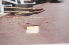 Motto words bar necklace, rose gold stainless steel, Luck Courage Wisdom Belief modern everyday simple jewelry jewellery gift for her mom by RabbitsFantasyWorld on Etsy
