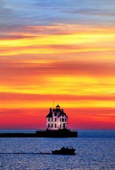 Lake Erie and the Lorain Lighthouse - Lorain, Ohio
