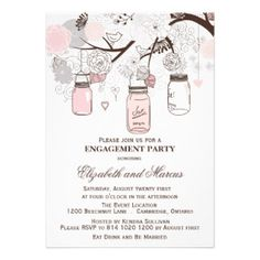 Blush Pink and Gray Mason Jars Engagement Party Invitation. Fully customizable. http://bezazzled.com http://customprintpersonalizedweddingengagementannouncementcards.com #personalizedweddinggifts #personalizedengagement