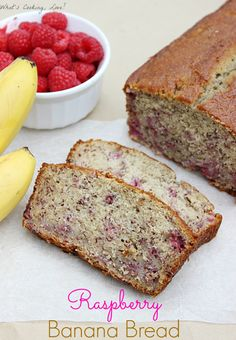 Raspberry Banana Bread.  A delicious bread with bananas and raspberries that is great for breakfast or dessert.