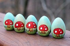 Easter Eggs ~ love the toadstools!