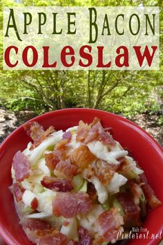 Apple Bacon Coleslaw - tangy dressing and salty bacon combined with the sweetness of the apples