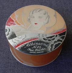 VINTAGE ART DECO LADY ATKINSONS OCRE POWDER BOX SEALED WITH PUFF   eBay