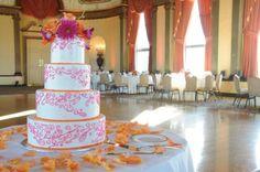wedding cake, modern, buttercream, white, pink, orange, scroll,