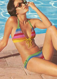 #1970s Multi Stripe Mini #Bikini Crochet Pattern PDF 7406. 3.74, via Etsy.