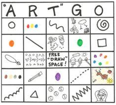 """ArtGo"" Art Bingo Game for Elementary and Primary Grades - Art lessons Art Sub Plans, Art Lesson Plans, Art Sub Lessons, Art Classroom Management, Art Handouts, Art Worksheets, Middle School Art, High School, Kindergarten Art"