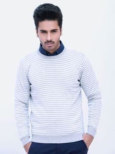 Grey Striped Crew Neck Sweater - Brumano
