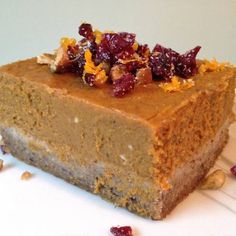 Chai Pumpkin Pie with Cranberry Orange Gremolata! Warm chai spices are a unique twist in traditional pumpkin pie. Pumpkin and chai were meant to be together! The cranberry and orange topping is a bright and upscale addition.