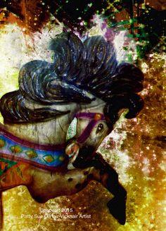 Carousel Horse Golden by Artist Patty Sue O'Hair - Vicknair