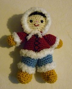"Little Eskimo Doll (Size: approx. 16 cm /6"") -  - Free Amigurumi Crochet Pattern - English and German version - PDF click ""download""  here: http://www.ravelry.com/patterns/library/amigurumi-crochet-pattern-little-eskimo"