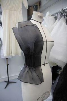 Haute Couture behind the scenes - work in progress draped on a dressmaking bust - fashion in the making; fashion atelier // Dior