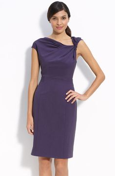 Calvin Klein 'Stretch Luxe' Twist Neck Sheath Dress