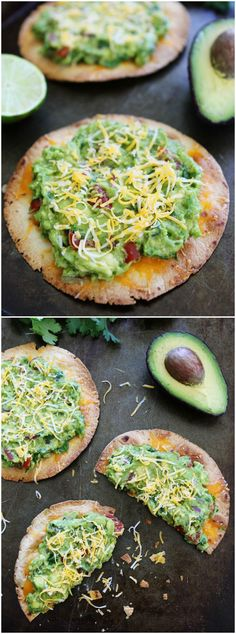 Cheesy Guacamole Tostadas Recipe on twopeasandtheirpod.com These easy and cheesy tostadas only take 20 minutes to make! They are great for dinner or parties!