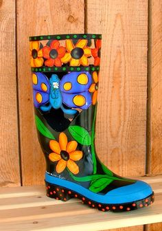 g.a.s. art: THINK SPRING PAINTED RUBBER BOOTS