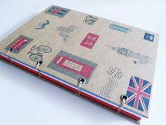 Agenda, diário ou caderno artesanal tema Inglaterra