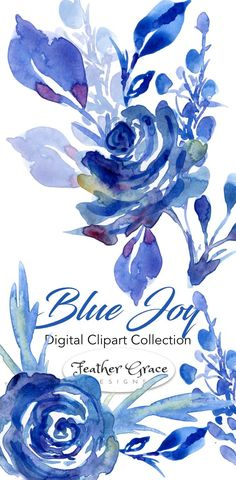 Watercolor Clipart, Watercolor Flowers - Beautiful blues are the highlight of this gorgeous floral collection. Click to see the full set now! #watercolor #watercolorclipart #florals #clipart #plannerstickers #DIYclipart #plannerclipart #art