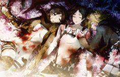 armin arelet blood christine (mori) eren jaeger mikasa ackerman shingeki no kyojin sleeping wallpaper background