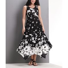 Reborn Collection Black Floral Sleeveless Handkerchief Maxi Dress ($40) ❤ liked on Polyvore featuring plus size women's fashion, plus size clothing, plus size dresses, plus size, womens plus size maxi dresses, floral maxi dress, flower print dress, women's plus size dresses and plus size maxi dresses