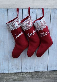 3264587d8bd Personalized Red Christmas stockings with lace Custom christmas stocking  kits Xmas stockings Personalized Christmas stockings personalized