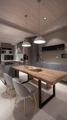 Taiwanese Family Home Embraces Modern Simplicity. Taiwanese Family Home: Modern dining room with wood table and industrial accents Farmhouse Style Kitchen, Modern Farmhouse Kitchens, Home Decor Kitchen, Kitchen Interior, Kitchen Dining, Kitchen Ideas, Kitchen Layout, Kitchen Inspiration, Kitchen Cabinets