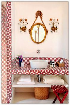 A chic house in Capri - powder room in architect/designer Matteo Thun's summer home, via ADRussia