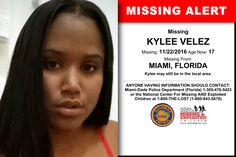 KYLEE VELEZ, Age Now: 17, Missing: 11/22/2016. Missing From MIAMI, FL. ANYONE HAVING INFORMATION SHOULD CONTACT: Miami-Dade Police Department (Florida) 1-305-476-5423.