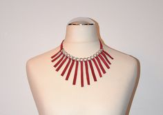 Red leather necklace with silver chain and fringes