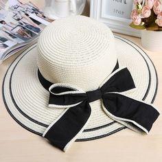 Large Brim Bowknot Fashion Ladies Sun Hat 3 Colors