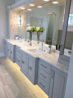 bathroom vanity designs images bathroom vanity design in blue shades master bathroom vanity ideas pi Grey Bathroom Vanity, Bathroom Vanity Designs, Small Bathroom Vanities, Bathroom Vanity Lighting, Bathroom Interior Design, Small Bathrooms, Peach Bathroom, Gray Vanity, Cabinet Lighting