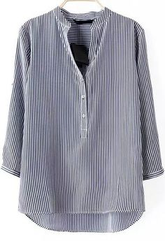 Blusa suelta rayas verticales manga larga-azul