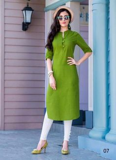 Product Features: Color: Green Bottom Color: White Fabric: Blended Cotton Bottom Fabric: Cotton Bottom Style: Churidar Product Type: Kurti Set Disclaimer: It is Made to order/Custom made products and cannot be exchanged or returned. Plain Kurti Designs, Simple Kurta Designs, Salwar Designs, Kurta Designs Women, Kurti Designs Party Wear, Blouse Designs, Kurta Neck Design, Kurti Patterns, Kurti Styles