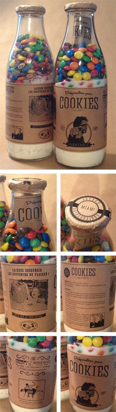 Preparation for MM cookies in bottles - birthday gift - gifts Jar Gifts, Food Gifts, Diy Cadeau, Festa Party, Edible Gifts, Neighbor Gifts, Bake Sale, Craft Sale, Biscuits