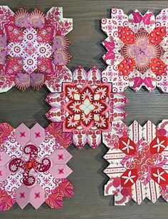 LUCY BOSTON VALENTINE EPP QUILT KIT by Alewives Fabrics.  Beautiful fussy cutting.