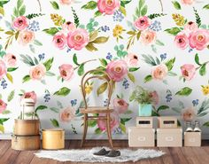 Watercolor Roses - Floral Wallpaper - Removable Wallpaper - Colorful Leaves - Self Adhesive Fabric - Temporary Wallpaper - SKU: WTCROS